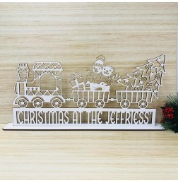 PERSONALISED CHRISTMAS AT THE (FAMILY) NAME WITH CHRISTMAS TRAIN STAND - M530