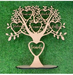 CUSTOM FAMILY TREE STAND WITH HEART - FAM036